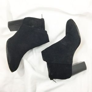 424 Fifth Black Larita Suede Heel Ankle Boots